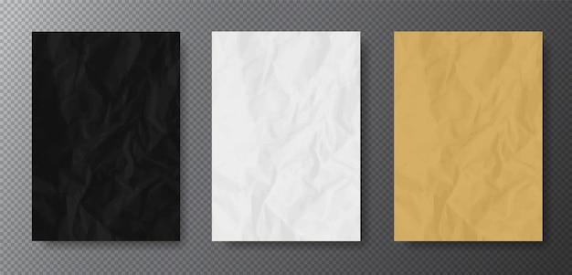 Realistyczne tekstury pomiętego papieru: kolor czarny, biały i kraft (beżowy). pusty format a4 z przezroczystymi cieniami na łatwym do usunięcia tle.