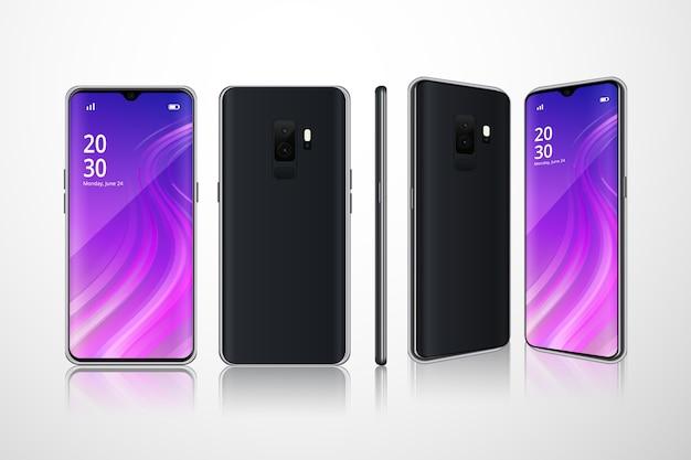 Realistyczne telefony w różnych widokach