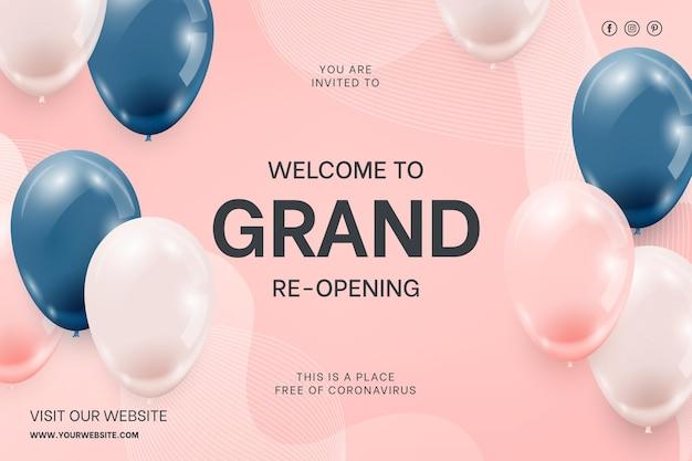 Realistyczne tło balonów na wydarzenie ponownego otwarcia