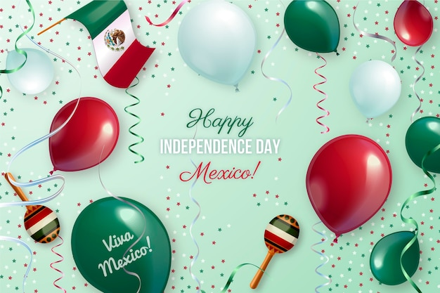 Realistyczne tło balonu dzień niepodległości meksyku