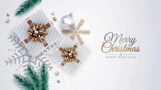 Realistyczne tło boże narodzenie z gałęzi sosny, prezenty, wstążki, ozdoby, płatki śniegu, bombki.