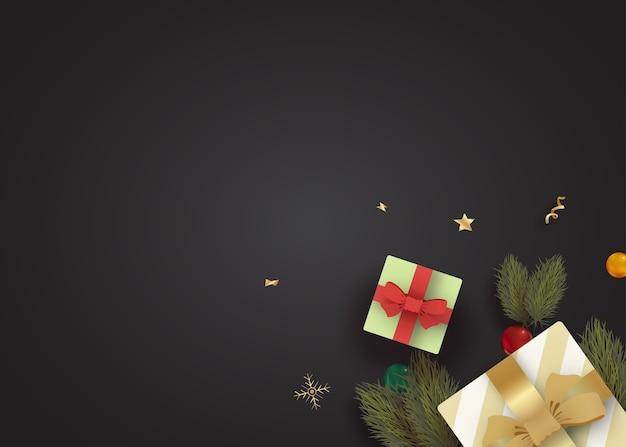 Realistyczne tło boże narodzenie z prezentami i gałęziami