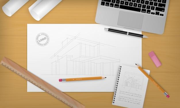 Realistyczne tło budowy z nagłówkiem w budowie i innym wyposażeniem z przodu