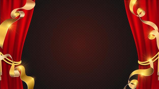 Realistyczne tło czerwone zasłony. złote wstążki i teatralna kurtyna.