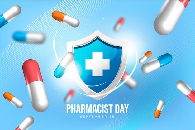 Realistyczne tło dnia farmaceuty