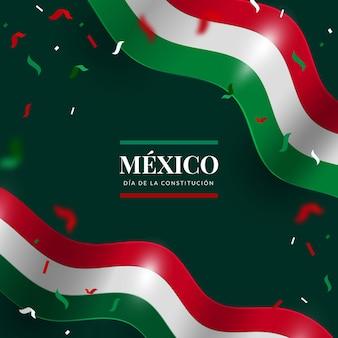 Realistyczne tło dnia konstytucji z flagą meksykańską