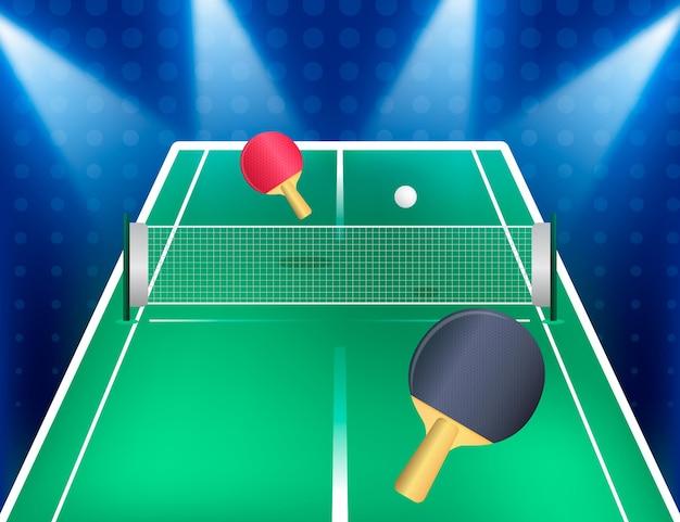 Realistyczne tło do tenisa stołowego z wiosłami i siatką