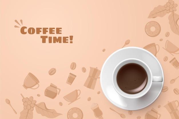 Realistyczne tło filiżanki kawy