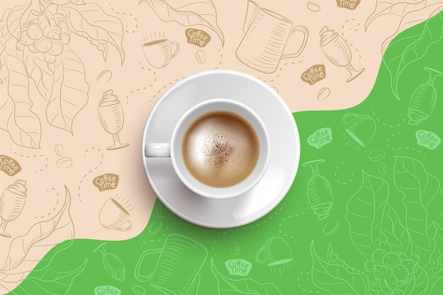 Realistyczne Tło Filiżanki Kawy Darmowych Wektorów