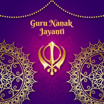 Realistyczne tło guru nanak jayanti z mandalą