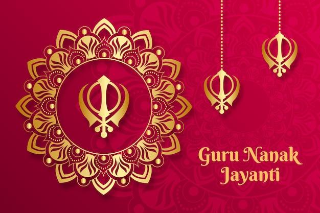 Realistyczne tło guru nanak jayanti