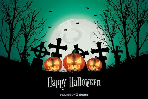 Realistyczne tło halloween z cmentarza