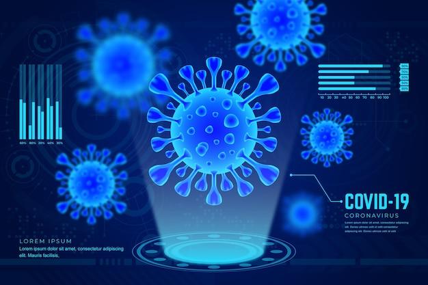 Realistyczne tło hologramem koronawirusa