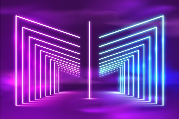 Realistyczne tło jasne neony