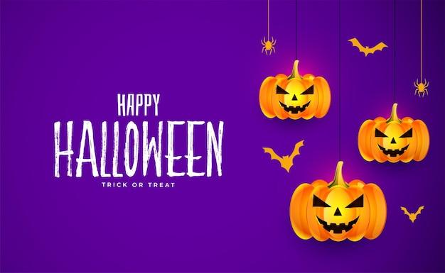 Realistyczne tło karty dynie halloween