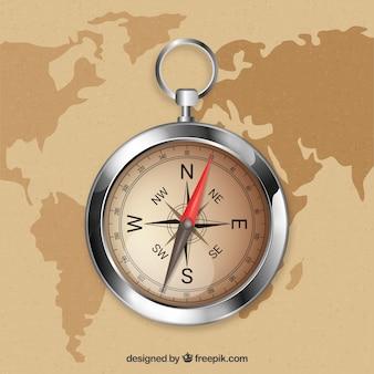 Realistyczne tło kompas mapy