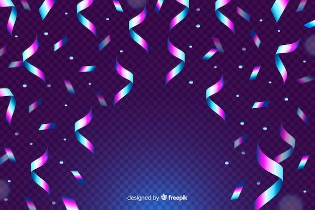 Realistyczne tło konfetti holograficzne
