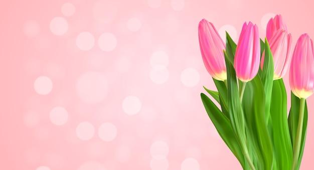 Realistyczne tło naturalne różowe tulipany z nokeh light.