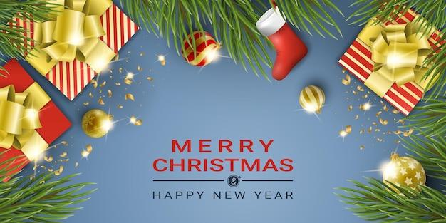 Realistyczne tło niebieski nowy rok z elementami bożego narodzenia.