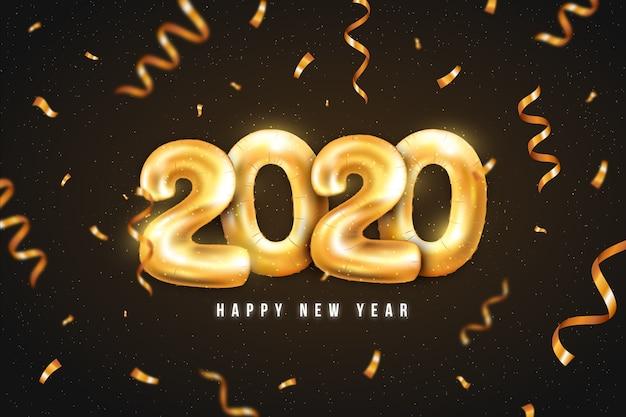 Realistyczne tło nowego roku 2020 balony