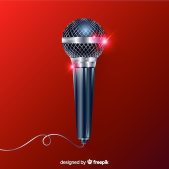 Realistyczne tło nowoczesne mikrofon