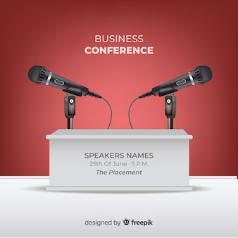 Realistyczne tło podium konferencji