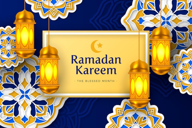 Realistyczne tło ramadan kareem