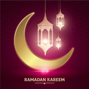 Realistyczne tło ramadanu z księżyca i świec