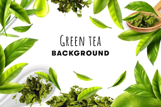 Realistyczne tło ramki ze świeżych liści i stosów suchej herbaty