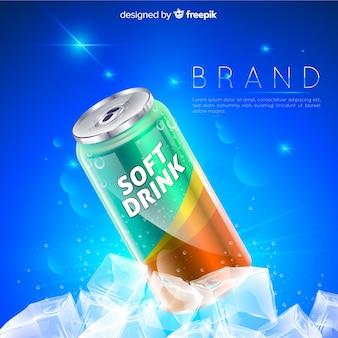 Realistyczne tło reklamy napojów bezalkoholowych