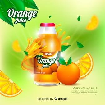 Realistyczne tło reklamy naturalnego soku