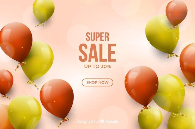 Realistyczne tło sprzedaż z balonami