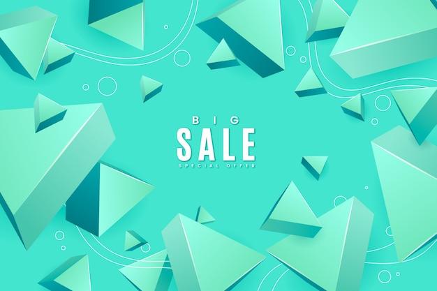 Realistyczne tło sprzedaży 3d z trójkątnymi kształtami