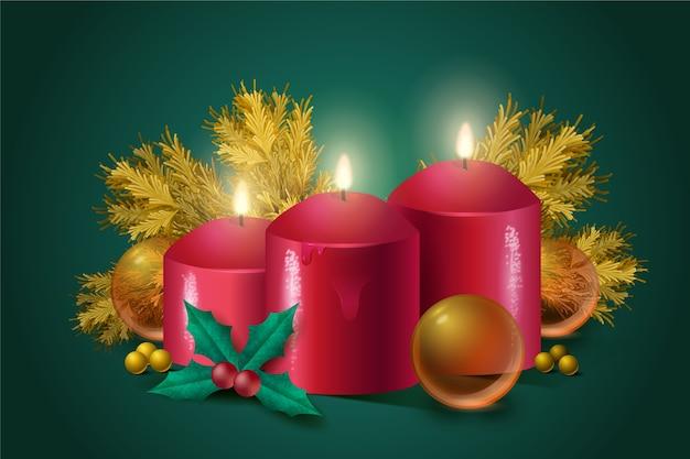 Realistyczne tło świeca świąteczna