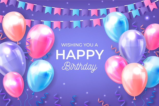 Realistyczne tło urodziny z balonami i girlandami
