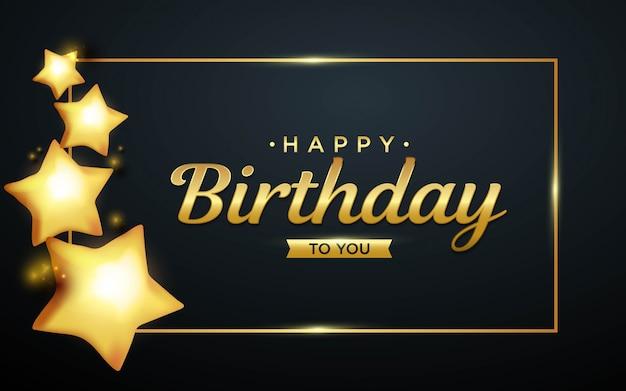 Realistyczne tło urodziny z balonami złotej gwiazdy