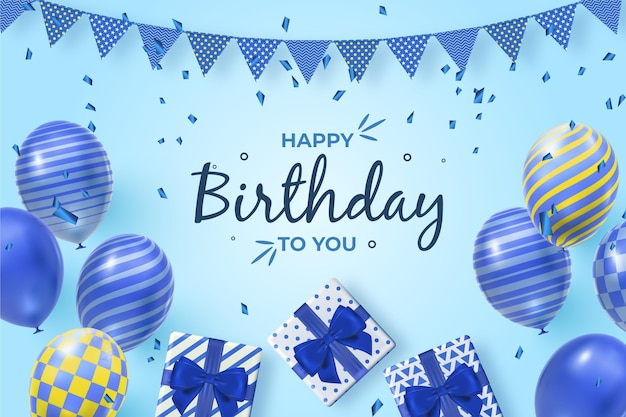 Realistyczne tło urodziny z balonów