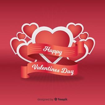 Realistyczne tło valentine wstążka