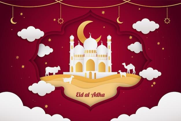 Realistyczne tło w stylu eid al adha mubarak w stylu czerwonym