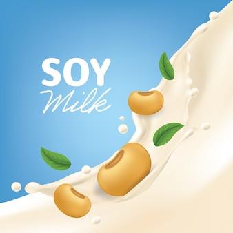 Realistyczne tło wektor powitalny mleka sojowego