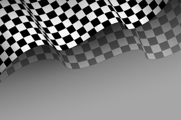 Realistyczne tło wyścigowe flagi w stylu 3d
