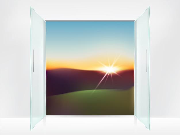 Realistyczne tło z podwójnymi szklanymi otwartymi drzwiami z metalowymi uchwytami i wschodem słońca