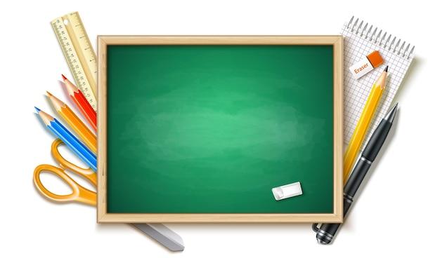 Realistyczne tło z powrotem do szkoły z tablicą