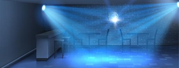Realistyczne tło z pustym parkiecie w nocnym klubie. nowoczesna sala taneczna z dyskoteką