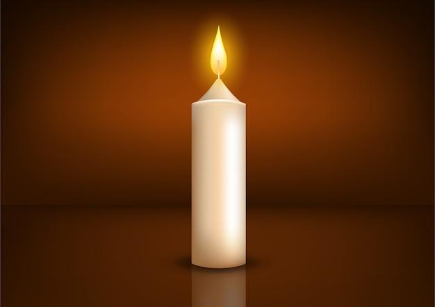 Realistyczne tło zapaloną świecę. ilustracja