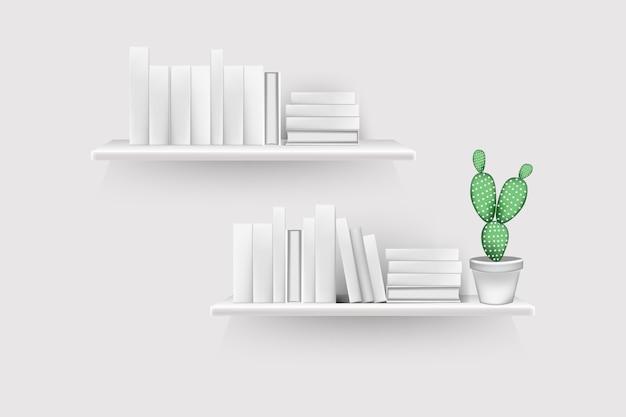 Realistyczne tomy książek z pustymi grzbietami i stojakiem na doniczki w rzędzie na stojaku wiszą na ścianie.