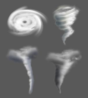 Realistyczne tornado. natura whirpool skręconych sił pogodowych siła powietrza trąba powietrzna i burza wektor zdjęcia cykloniczne. katastrofa i wiatr, ilustracja huraganu lejka pogodowego katastrofy