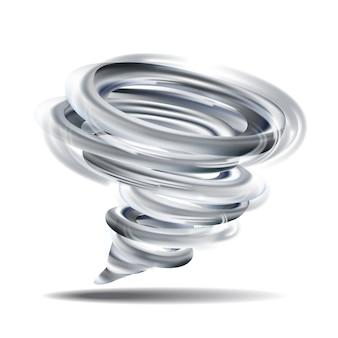 Realistyczne tornado wirowa ilustracja na białym tle