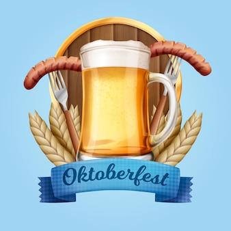Realistyczne tradycyjne piwo i jedzenie oktoberfest