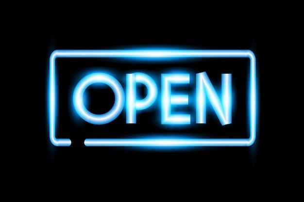 Realistyczne transparent otwarty neon.